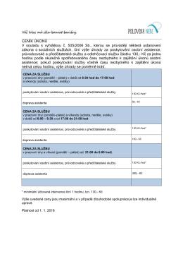 CENÍK ÚKONŮ V souladu s vyhláškou č. 505/2006 Sb., kterou se