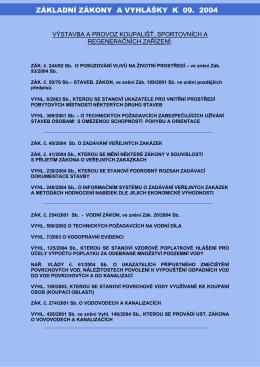 Seznam nových zákonů a vyhlášek