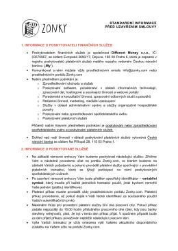 Standardní informace před uzavřením rámcové smlouvy