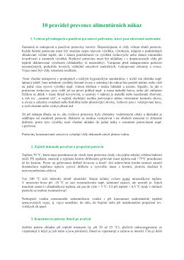 10 pravidel prevence alimentárních nákaz dle WHO (Světová