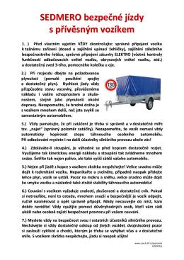 SEDMERO bezpečné jízdy s přívěsným vozíkem - Czech