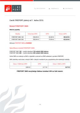 Ceník FIREPORT platný od 1. ledna 2016 Modul FIREPORT SMS
