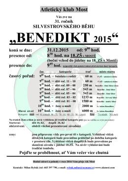 """BENEDIKT 2015"" - Atletický klub Most"