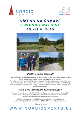 VÍKEND NA ŠUMAVĚ S NORDIC WALKING 19.