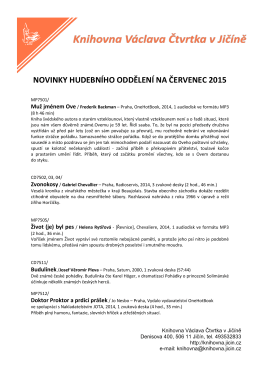 NOVINKY HUDEBNÍHO ODDĚLENÍ NA ČERVENEC 2015