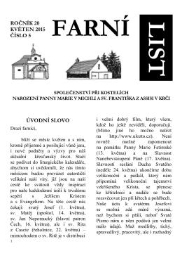 úvodní slovo ročník 20 květen 2015 číslo 5 - Michle