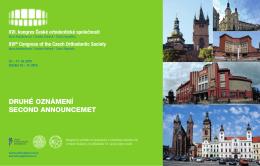 Druhé oznámení () - kongres České ortodontické společnosti