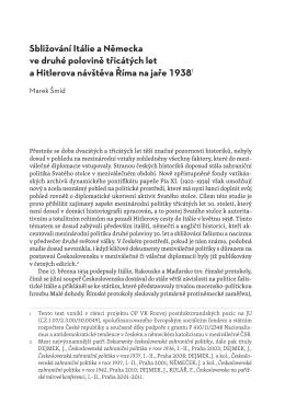 Sbližování Itálie a Německa ve druhé polovině třicátých let a