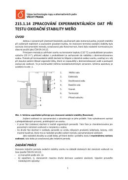 Zpracování experimentálních dat při testu oxidační stability MEŘO