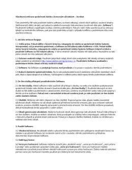 Všeobecná smlouva společnosti Adobe s koncovým uživatelem