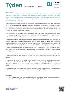 Týdenv evropské politice (30. 3. – 5. 4. 2015) Událost týdne