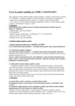 Výzva k podání nabídky pro ZMR č.1/166/9/6/2015