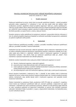 pravidla hodnocení spolehlivosti veřejně prospěšných organizací