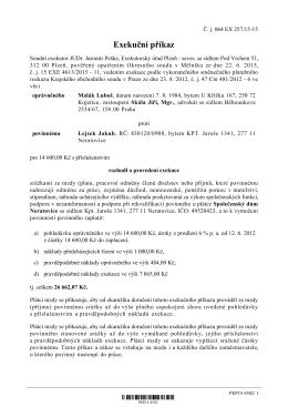 Exekuční příkaz - JUDr. Jaromír Peške