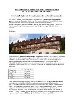 Informace k ubytování, stravování, dopravě a konferenčnímu poplatku