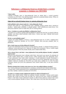 Informace o přijímacím řízení na SŠ