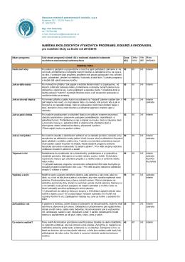 Stručná nabídka programů, exkurzí a ekodivadel pro MŠ 2015/2016