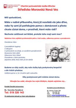 Charitní pečovatelská služba, středisko Moravská Nová Ves
