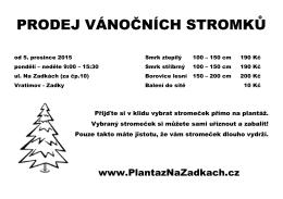 Leták 2015 - Plantáž vánočních stromků
