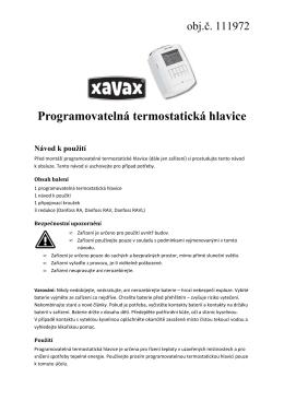 Programovatelná termostatická hlavice Návod k použití