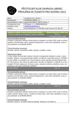pěstitelský klub zahrada liberec přihláška ke členství pro sezónu 2015