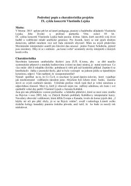 Podrobný popis a charakteristika projektu IX. cyklu