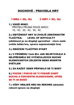 DUCHOVÉ - PRAVIDLA HRY