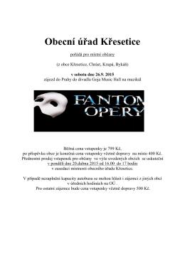 Fantom opery - leták
