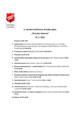 """2. národní konference Armády spásy """" Ženy bez domova"""" 19. 5. 2015"""