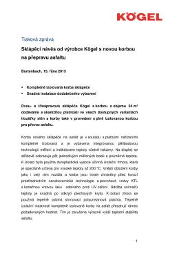 Tisková zpráva Sklápěcí návěs od výrobce Kögel s novou korbou na