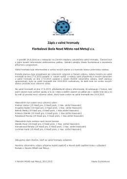 Zápis z valné hromady ze dne 24.8.2015
