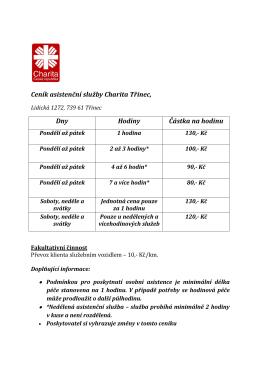 Ceník asistenční služby Charita Třinec, Dny Hodiny Částka na hodinu