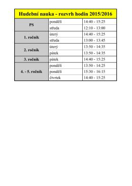 Hudební nauka - rozvrh hodin 2015/2016
