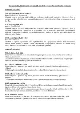 Anotace hodin, které budou odučeny 25. 11. 2015 v rámci Dne