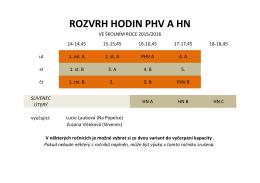 ROZVRH HODIN PHV A HN