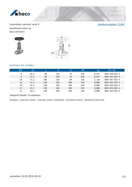 Vysokotlaký uzavírací ventil S (navařovací konec na