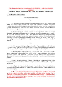 """""""cyklo"""" návrhů na doplnění novely zákona č 361/2000 Sb."""