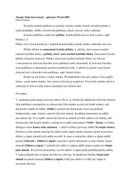 Zásady číslování stránek – platí pro Word 2003
