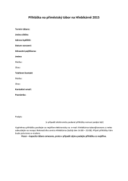 Přihláška na příměstský tábor na Hřebíkárně 2015