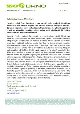 Tisková zpráva Zoo Brno 20. 5. 2015