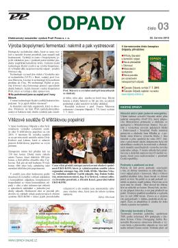 Newsletter časopisu Odpady ze dne 23. 6. 2015