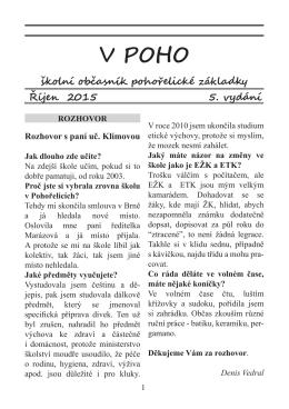 Školní časopis V POHO 5 - Základní škola Pohořelice