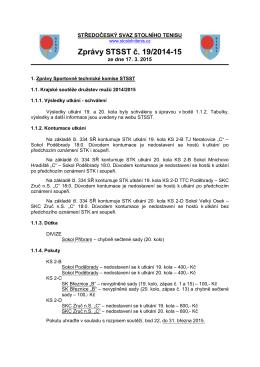Zprávy STSST č. 19/2014-15 - Středočeský svaz stolního tenisu