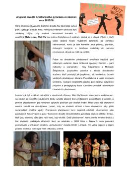 Anglické divadlo Křesťanského gymnázia ve školním roce 2015/16