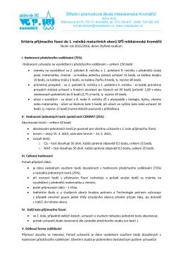 Kritéria přijímacího řízení pro školní rok 2015/2016.