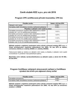 Ceník služeb KEZ o.p.s. pro rok 2016