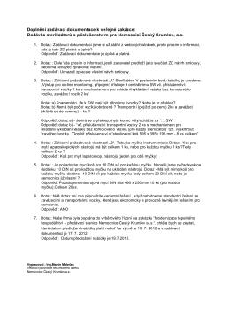 Doplnění zadávací dokumentace k veřejné zakázce: Dodávka