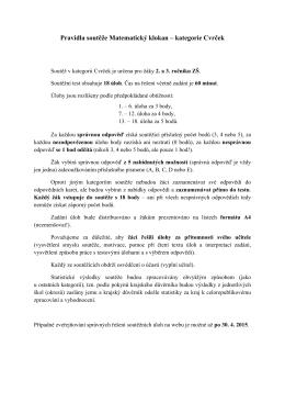 Pravidla soutěže Matematický klokan – kategorie Cvrček