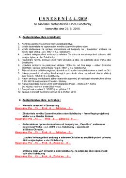 U S N E S E N Í č. 4. /2015
