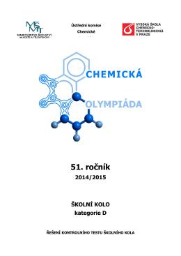 Řešení kontrolního testu školního kola Chemické olympiády